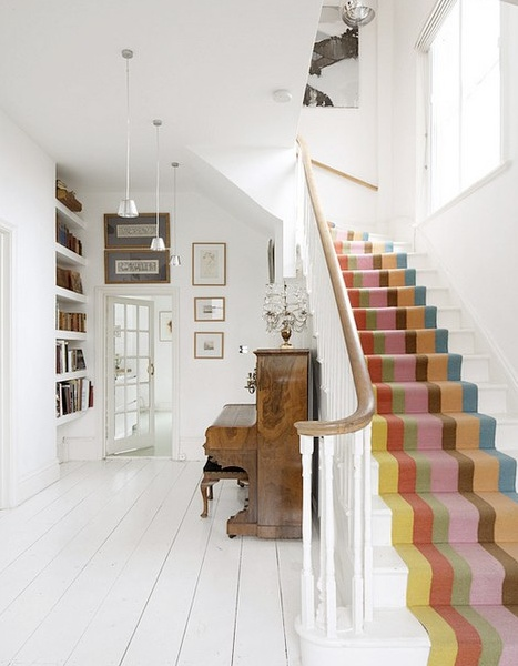Colorful stripes on stairs
