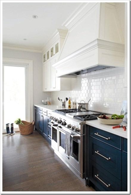 Darker lower kitchen cabinets