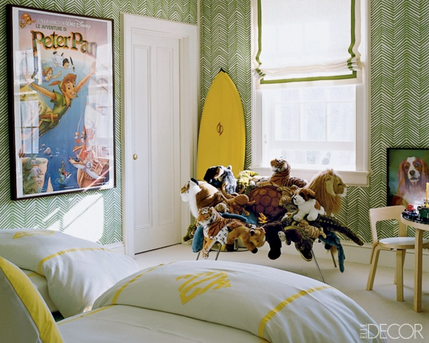Child's bedroom with green wallpaper