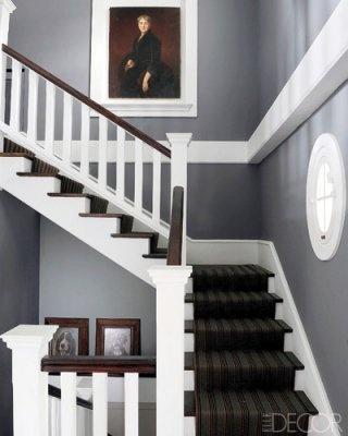 Dark striped runner on stairs
