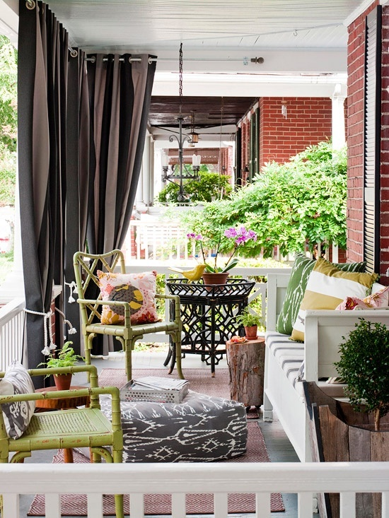 Brown and green porch