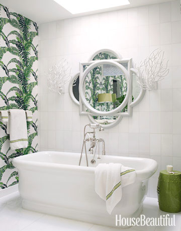 White bathroom with green details