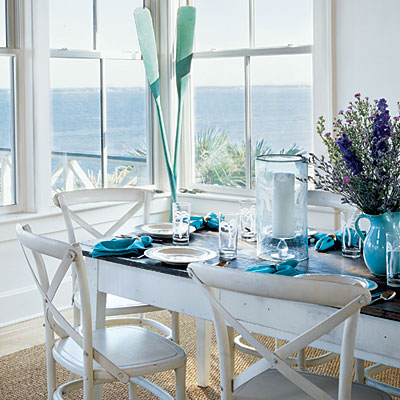 Simple blue and white dining area