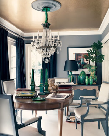 Emerald green accents in dining room