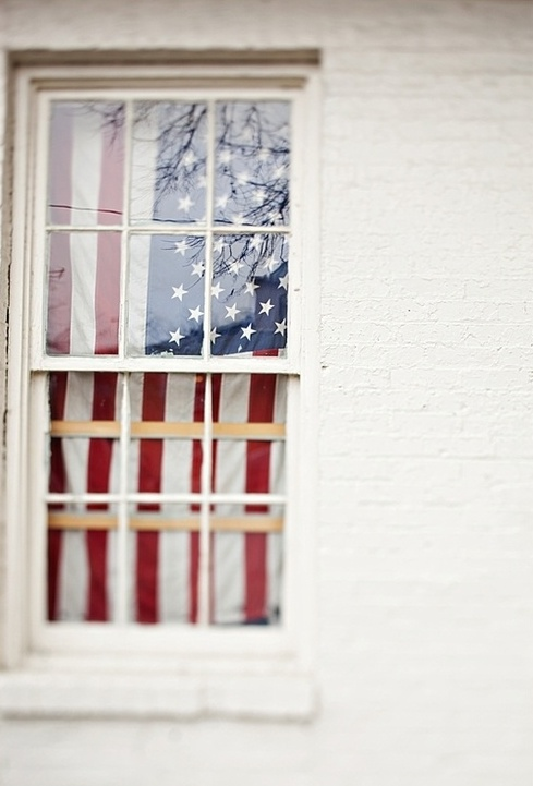 American flag in window