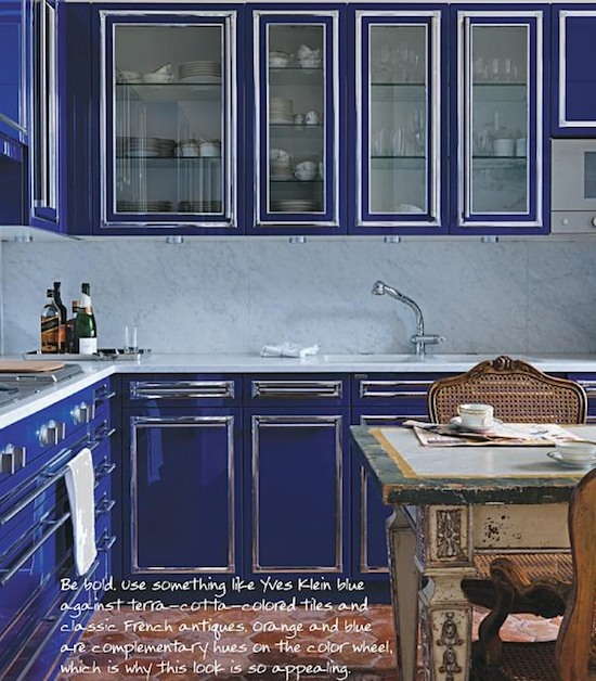 Bright blue cabinets