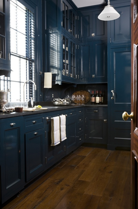 Lacquered navy cabinets