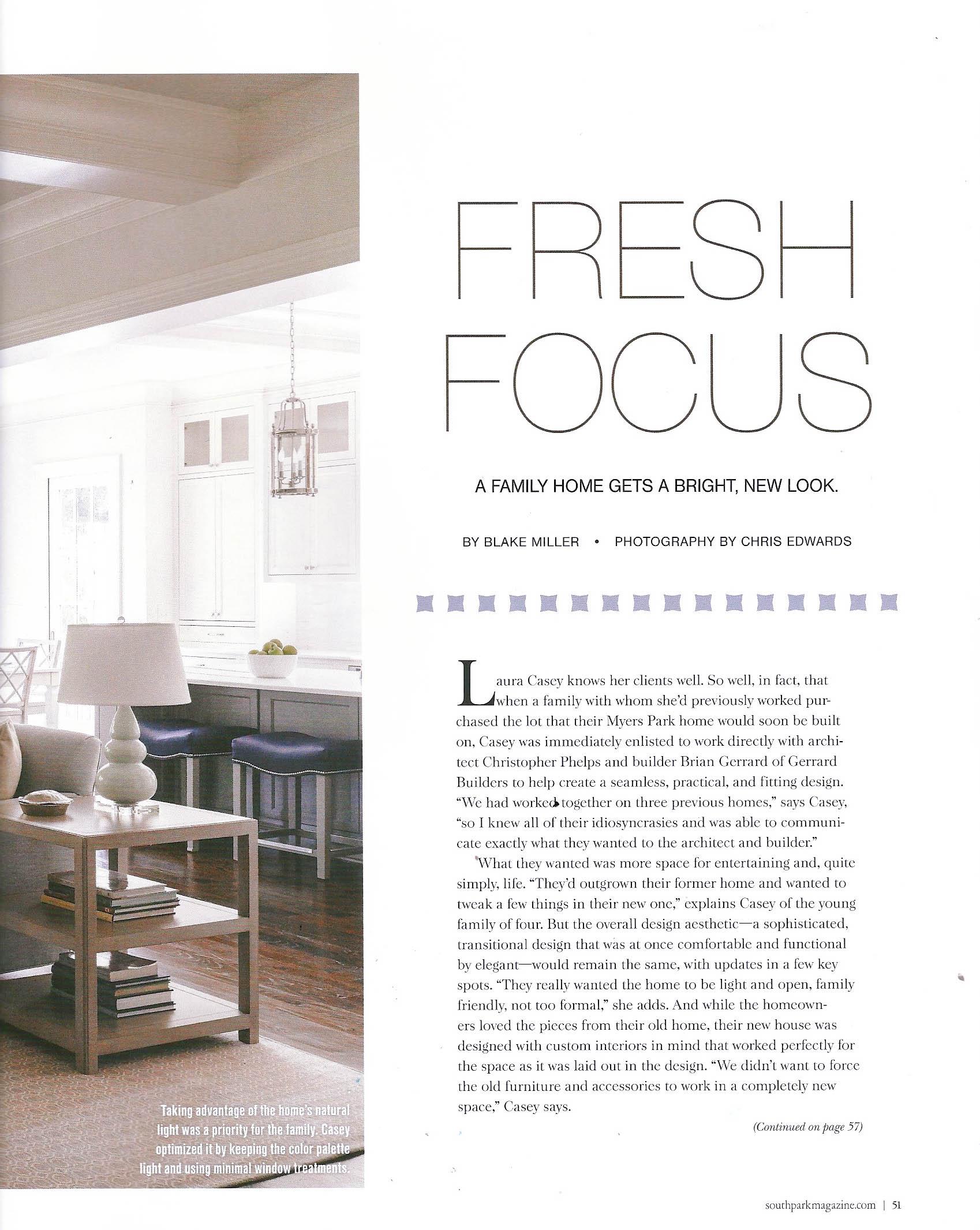 Interior Design Charlotte SouthPark Magazine